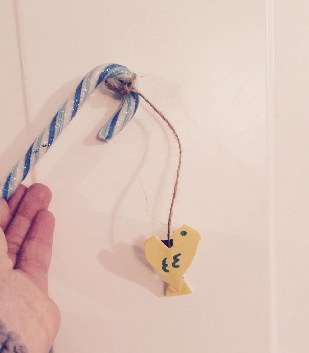 Fishing pole made out of candy cane heart and then triangle for ...
