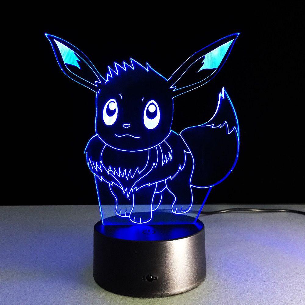 Eevee 3d Led Lamp 3d Night Light Pokemon Pokemon Room