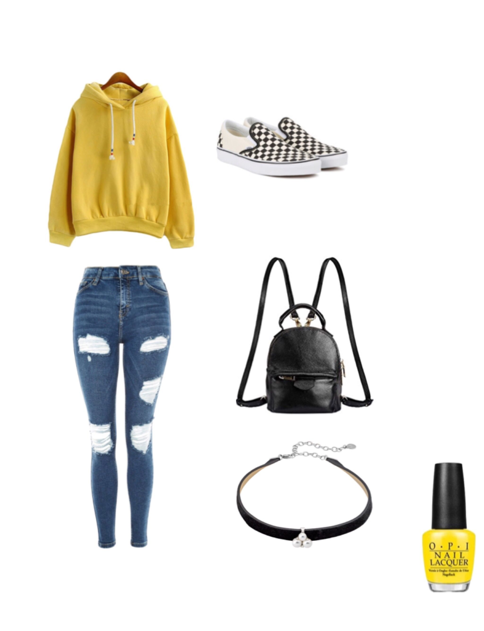 outfit ideas. checkerboard vans. yellow