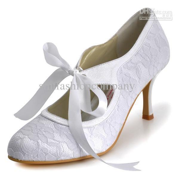 Classic Design Women Pumps A3039 White Ivory Almond Toe 3 76cm Heel Ribbon Lace Wedding Bridal Shoes
