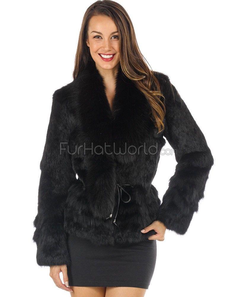 The Kylie Rabbit Fur Jacket with Fox Collar in Black | Rabbit fur ...