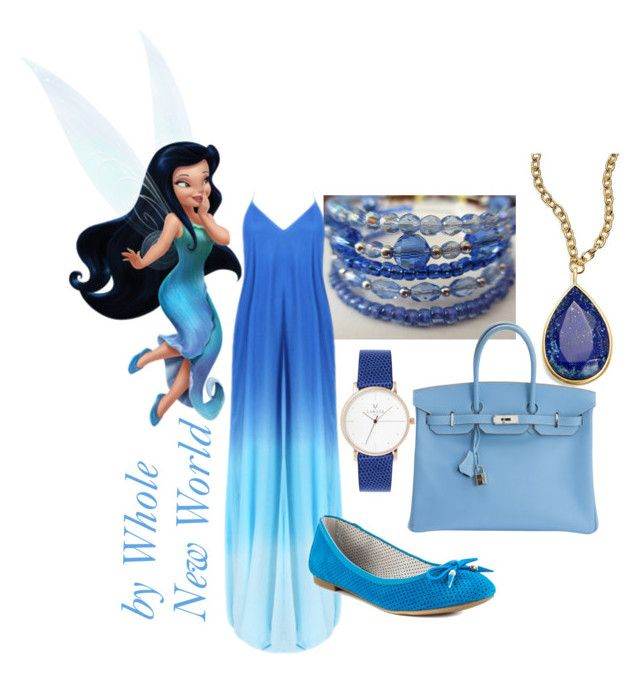 """Silvermist - Disney Fairies"" by kyera ❤ liked on Polyvore featuring Sam Edelman, Hermès and Karen Kane"