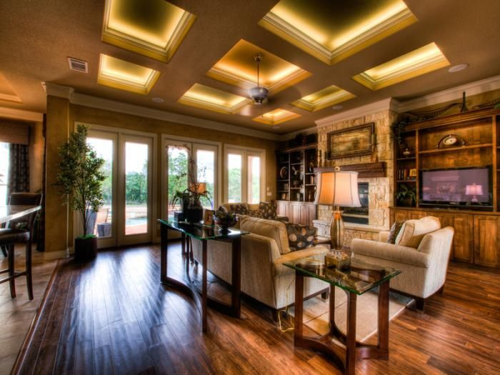 coffered ceiling lighting. coffered ceiling with led strip lighting behind molding cove d