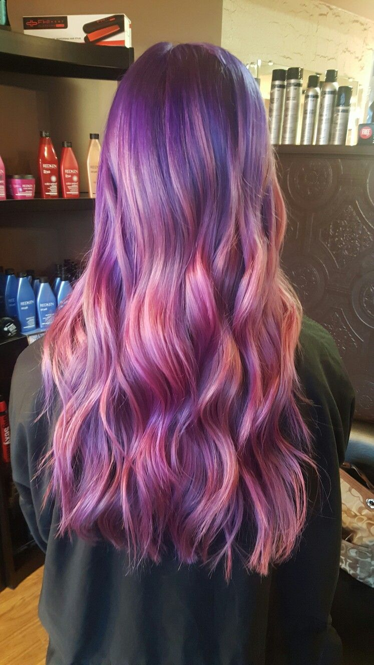Purple And Pink Color Melt Hair Done With Pravana Vivids