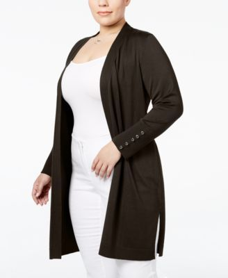55a0a679ca3 JM Collection Plus Size Open-Front Duster Cardigan