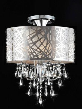 Love This Chrome And Crystal 4 Light Flushmount Chandelier From Houzz Com Round Crystal Chandelier Drum Chandelier Crystal Chandelier