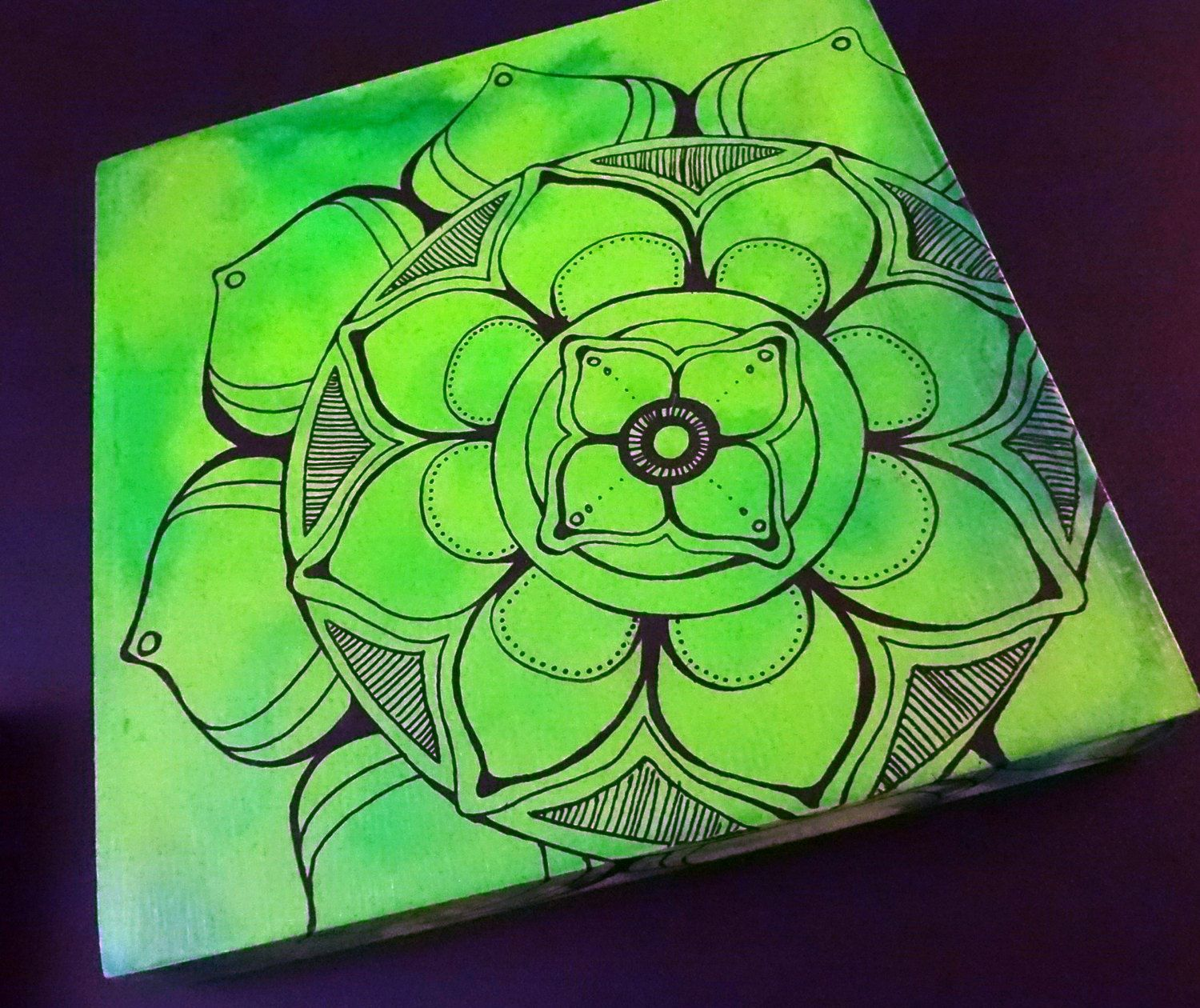 Mandala On 6 X 6 Green Wooden Panel By Mountaintoparts On