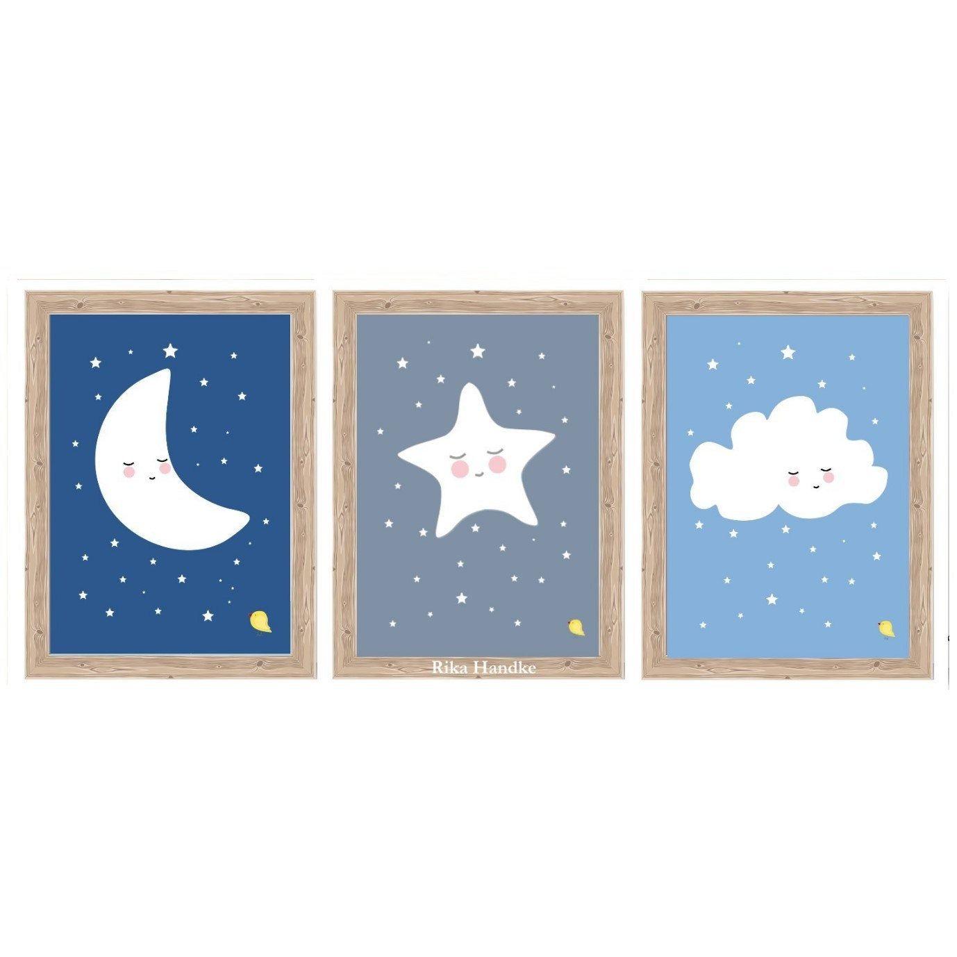Kleinefeinebilder Children S Poster 3 Set Sun Moon Children S Room Picture Posterset Kinderposter Hochzeit Kissen Poster