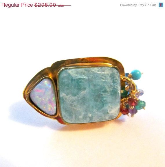 NEWYEAR SALE Fire Opal Amazonite and multi by YaronaJewelryDesign, $256.28