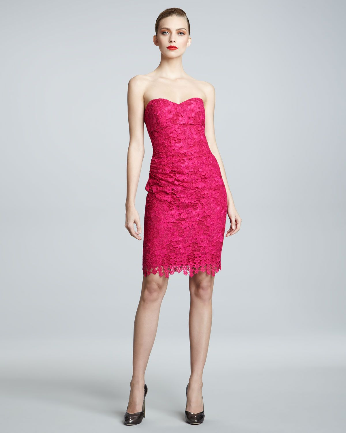 David Meister Signature Strapless Lace Cocktail Dress in Pink ...