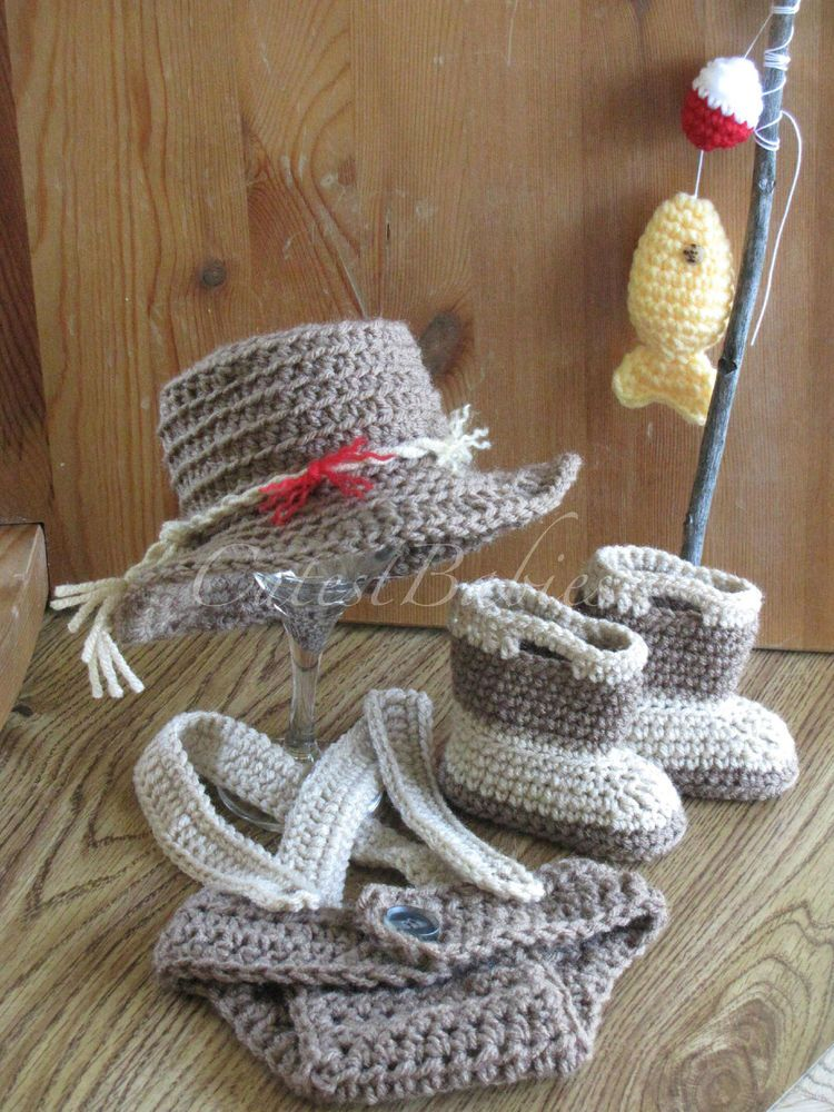 Baby Crochet Fishing Hat, Boots & Diaper Cover w/Suspenders Photo ...