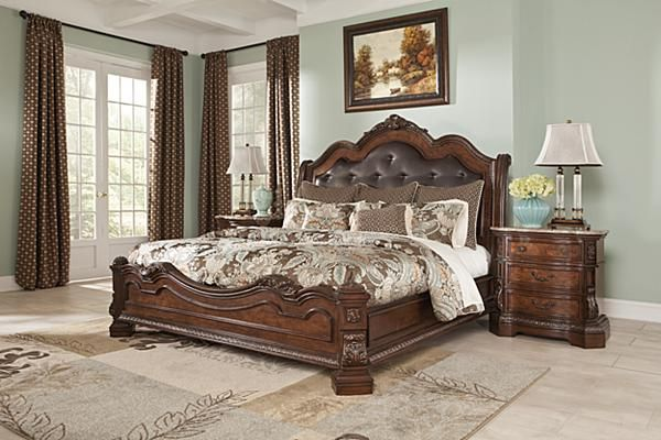 The Ledelle Sleigh Bed From Ashley Furniture Homestore Afhs Com With The Traditional Dark C