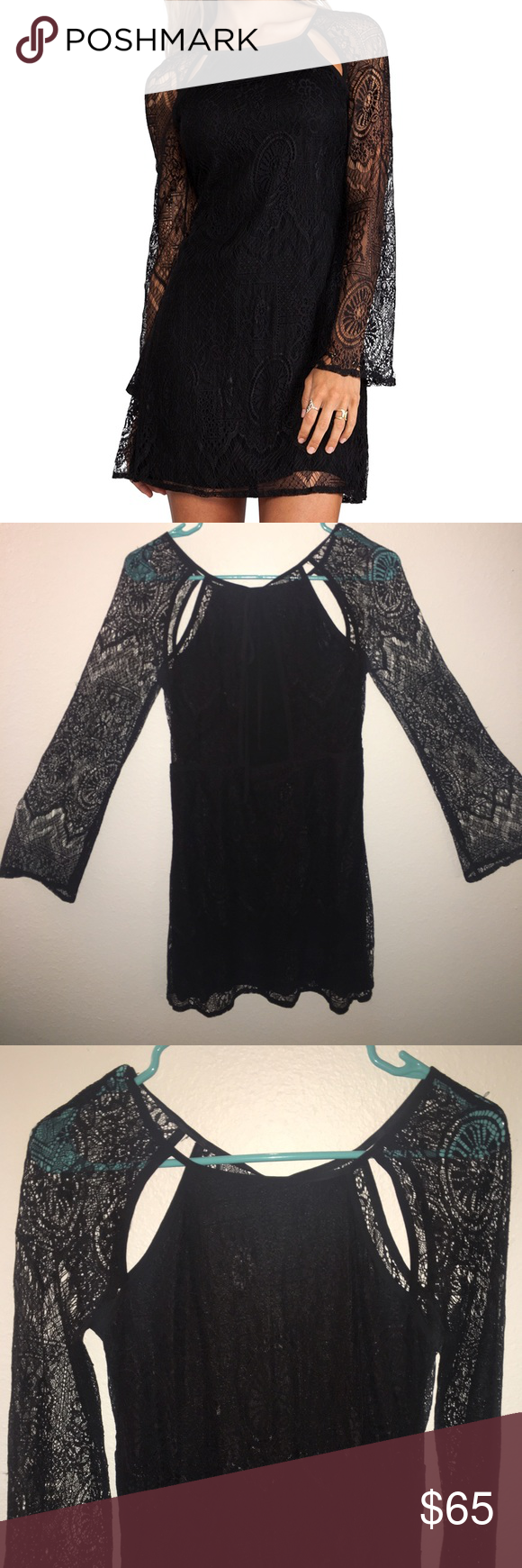 Black Lace Dress with Sleeves! worn once and like brand new!! black lace sleeves and open back detail!! Revolve Clothing Dresses