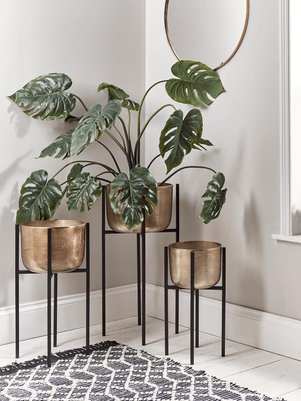 Three Standing Brass Planters