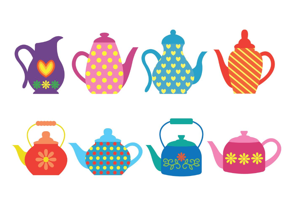 Patterned Colorful Teapot Icons in 2020 Tea pots, Vector