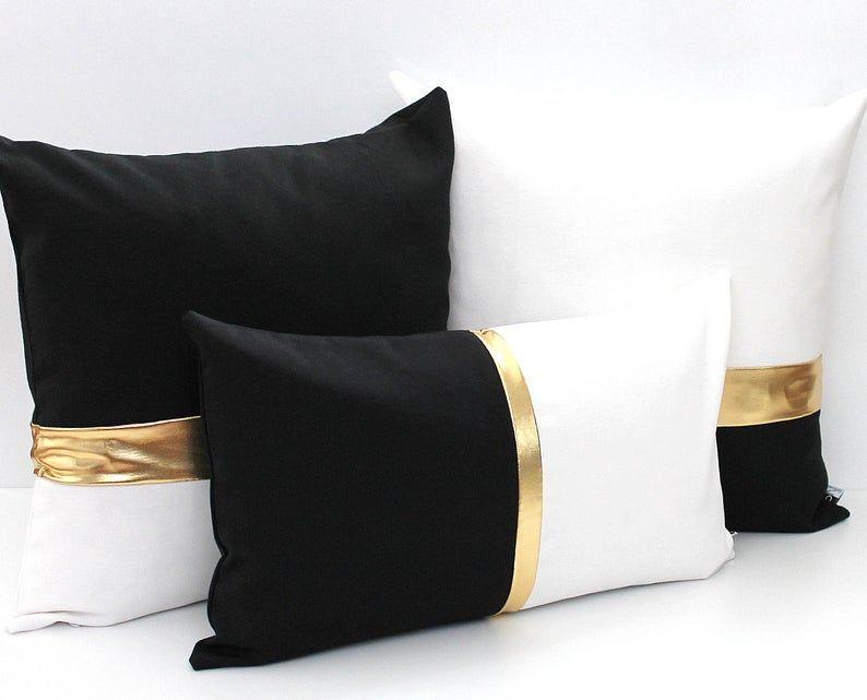 metallic gold colorblock pillow cover