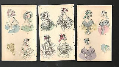 Three Antique 19 Century Women Fashion Prints  Color  3 Pages | eBay