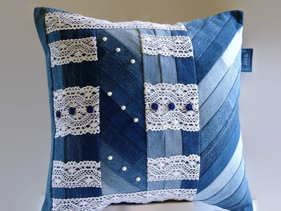 Denim Pillow Cover Vintage Lace and Blue by SuzqDunaginDesigns