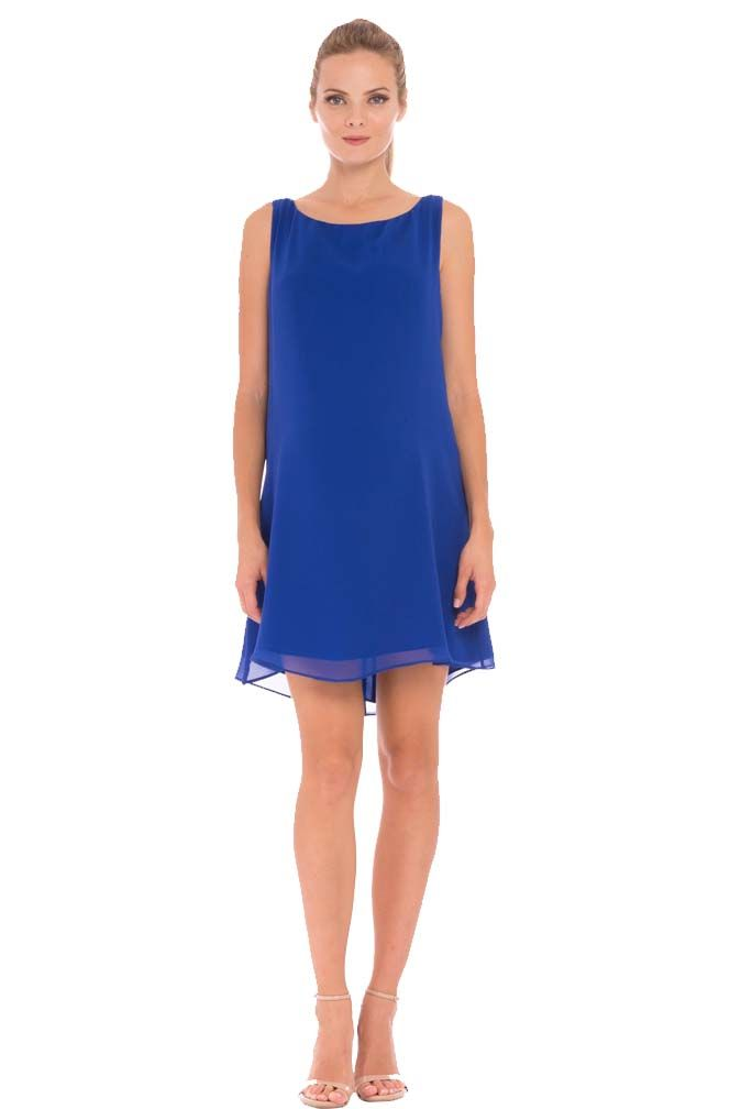 e08acb2e079 Olian Leah Sleeveless Chiffon High-Low Maternity Dress