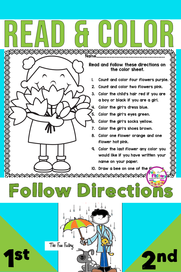 Read and Color to Follow Directions   Kindergarten worksheets [ 1152 x 768 Pixel ]