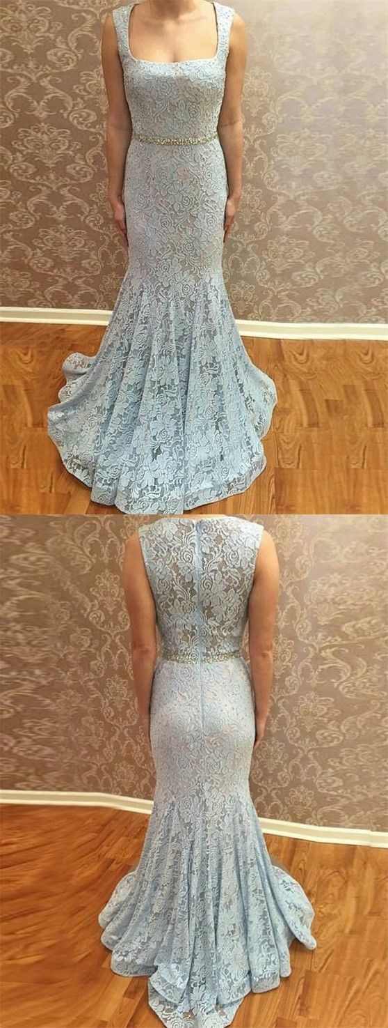 Baby blue prom party dresses lace chic mermaid fashion gowns