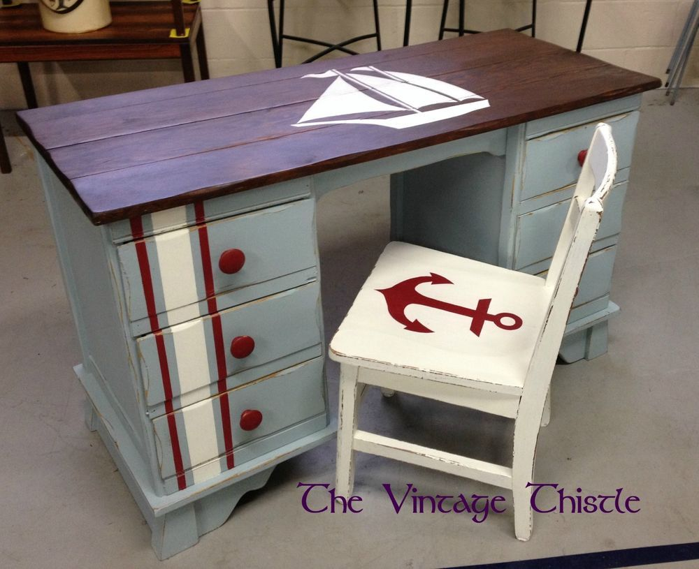 Nautical Coastal Style Oak Desk And Chair Painted Blue Home Office Study