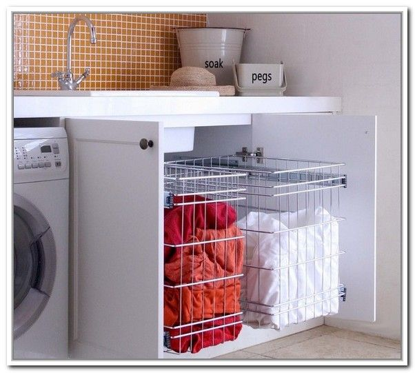 Elegant Laundry Basket Storage Under Washer And Dryer | Home Design Ideas