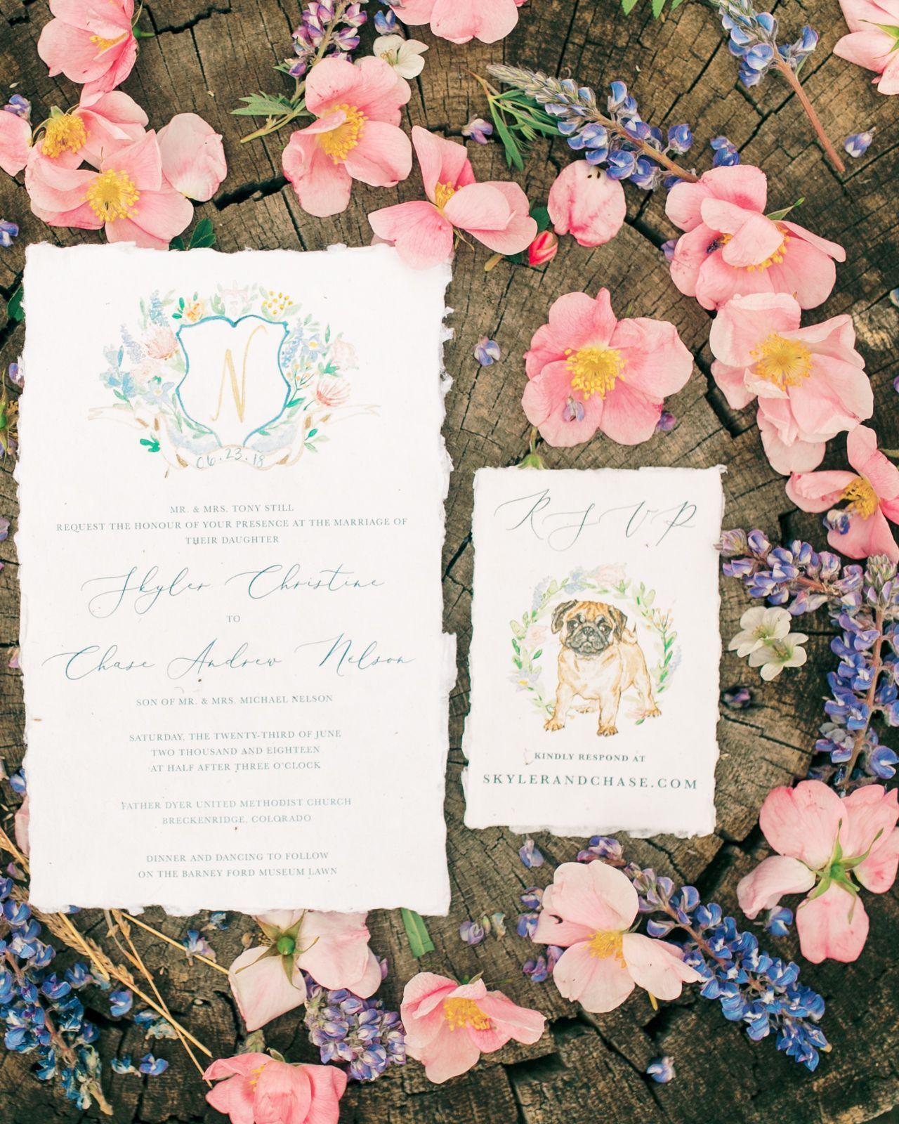 Vienna Glenn Photography, custom watercolor wedding invite