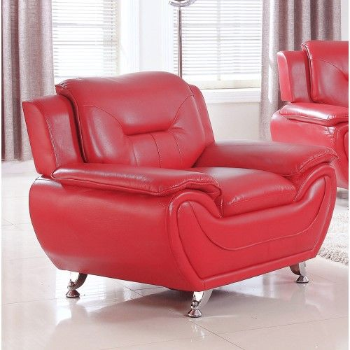 UFE Norton Red Faux Leather Modern Living Room Accent Chair | Products