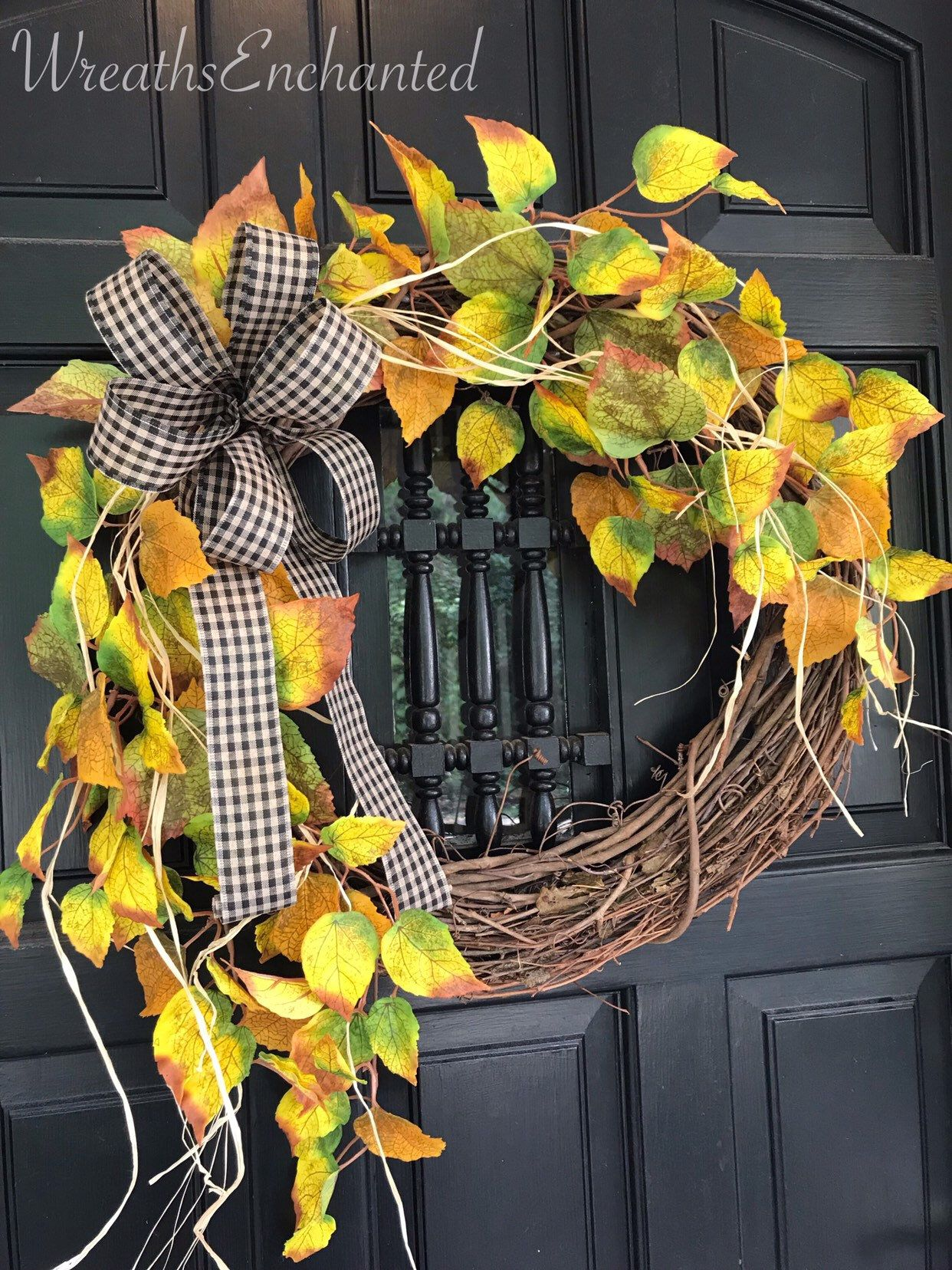 Photo of Autumn wreath Front door wreath Rustic wreath Free shipping Autumn decor Grapevine wreath Autumn leaf wreath Yellow gold wreath Housewarming party