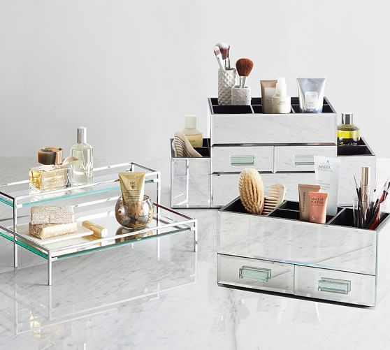 Mirrored Makeup Storage Pottery Barn With Images
