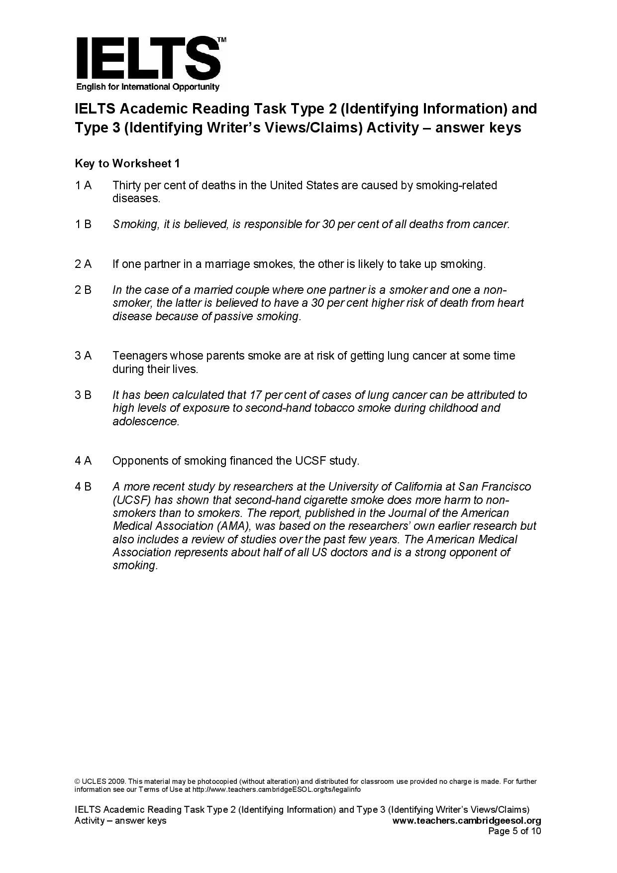 IELTS Academic Reading Task Type 2 Identifying Information and – Cancer Worksheet