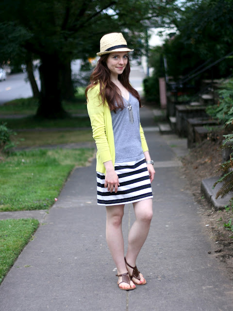 How to Wear DIY: Upcycled black and white striped skirt with neon and a fedora