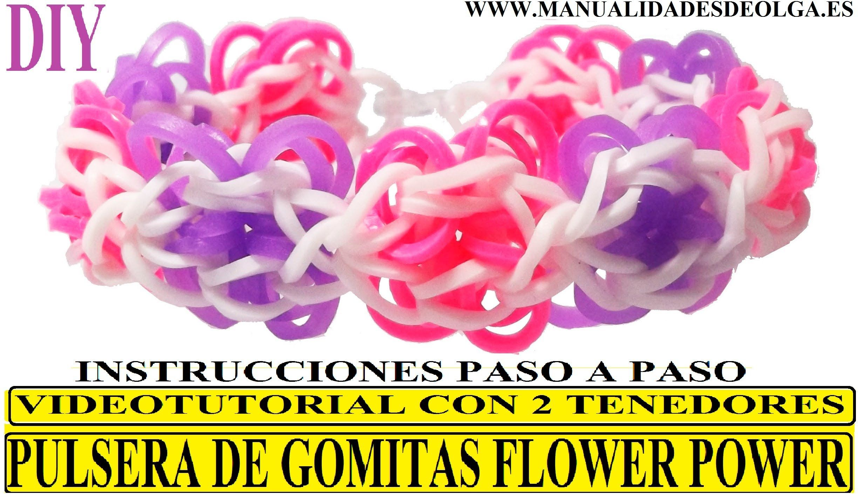3f4d2186b670 COMO HACER PULSERA DE GOMITAS FLOWER POWER CON DOS TENEDORES ...