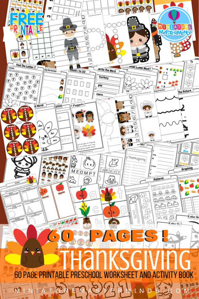 FREE Printable 60 Page Preschool and Kindergarten Thanksgiving ...