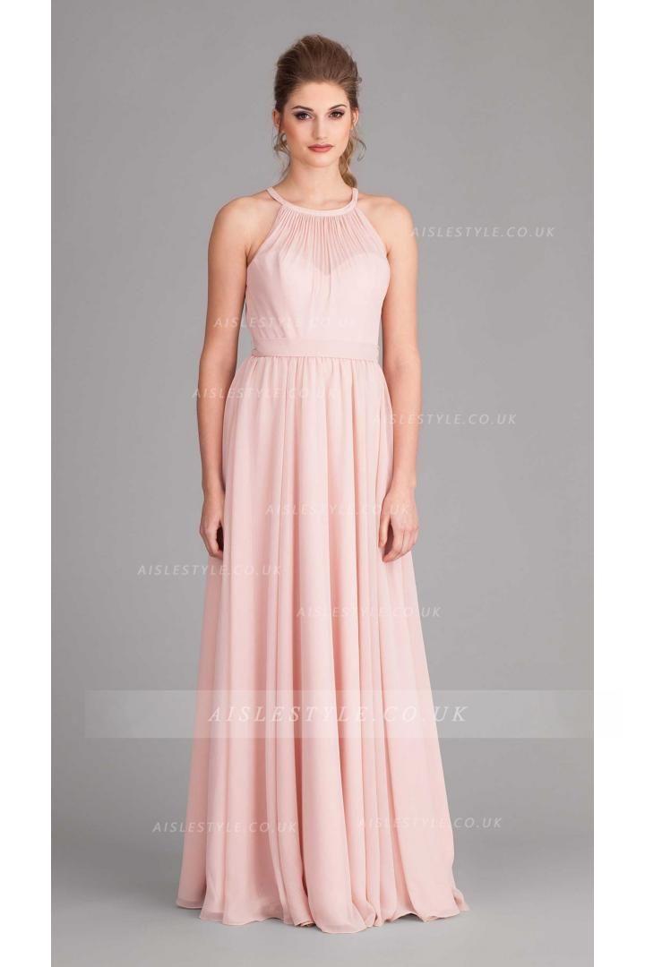 Chic Halter Neck Pleated Long Pearl Pink Chiffon Bridesmaid Dress ...