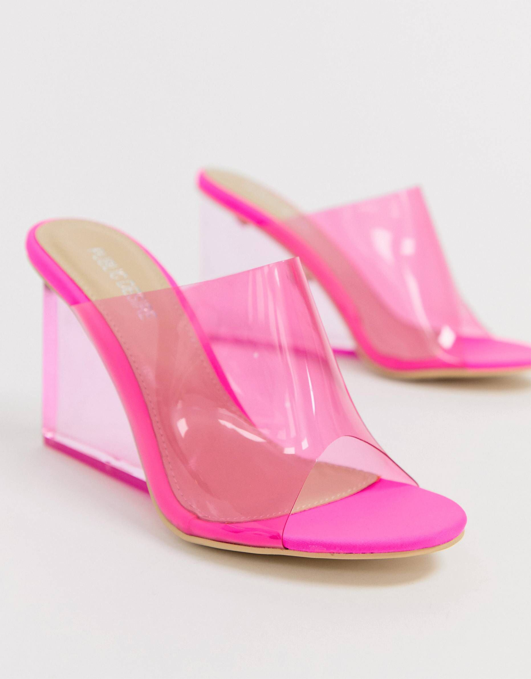 fae5793c2184 Public Desire Maliboo bright pink clear wedge mule in 2019