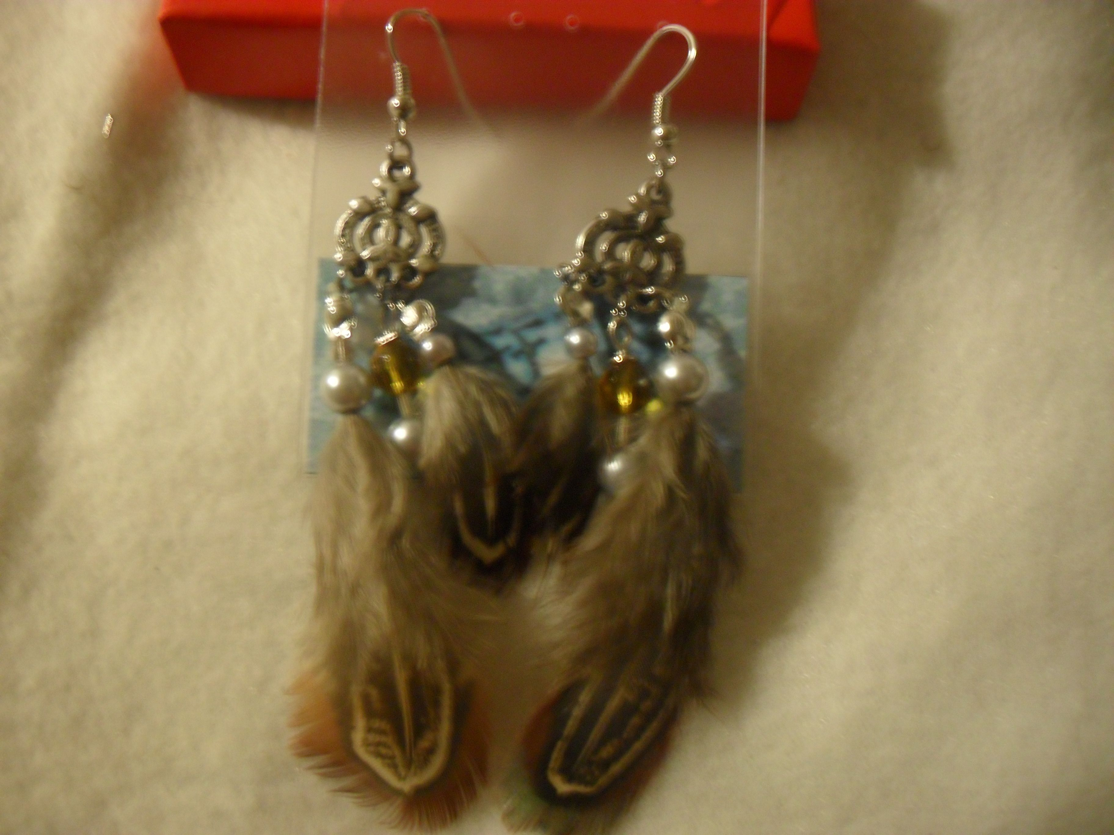 "Earrings: ""Owlet Revisited (Silver Pearl)"""