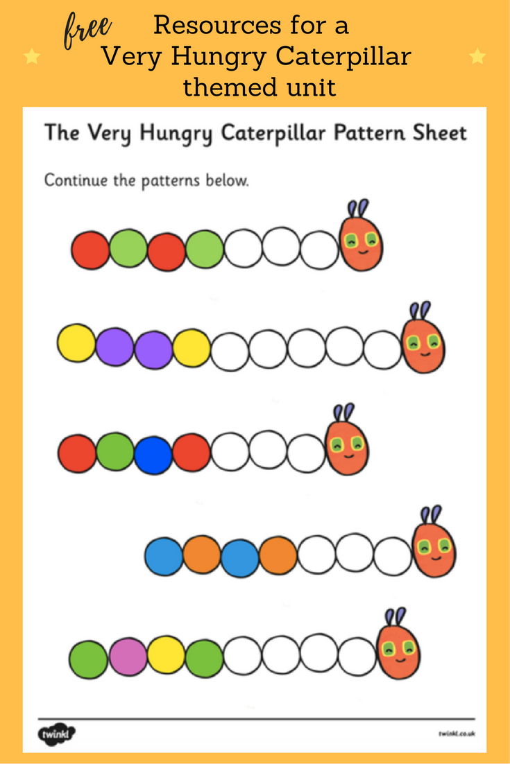 Worksheets Very Hungry Caterpillar Worksheets english teaching worksheets the very hungry caterpillar guided colour sequences worksheet to support on caterpillar