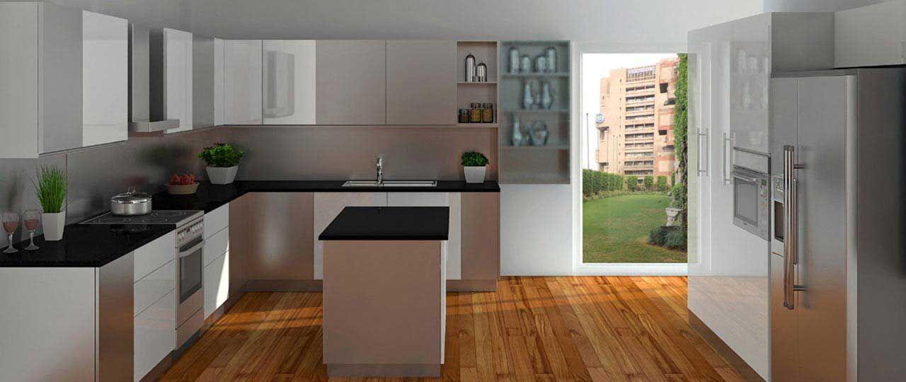 stainless steel modular kitchen island gallery u shape l shape kitchen design kitchen on kitchen island ideas v shape id=54465