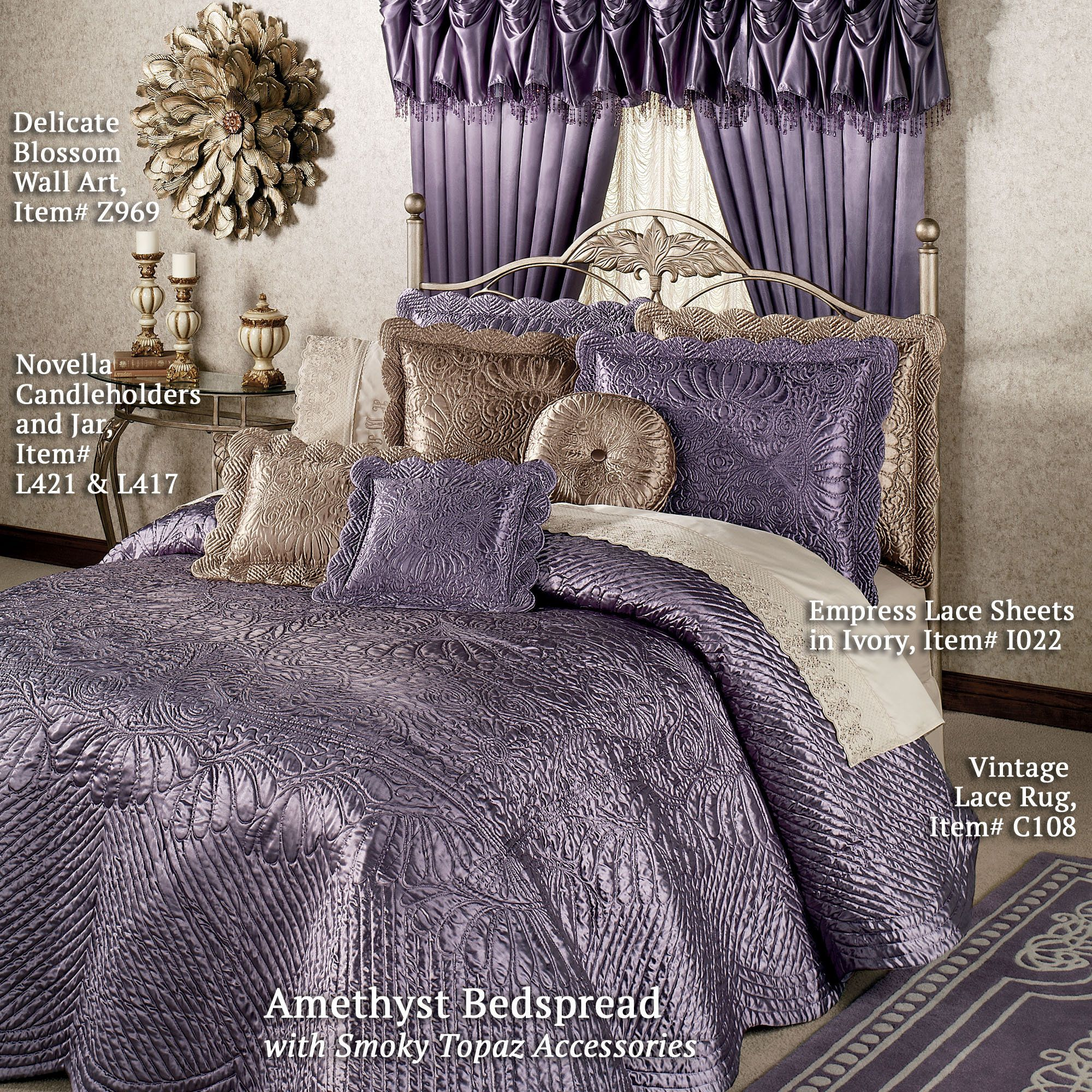 Amethyst Bedspread With Smoky Topaz Accessories Portia