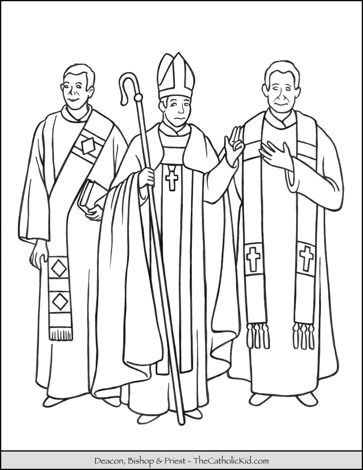 Catholic Holy Orders Deacon Bishop Priest Coloring Page Catholic Coloring Catholic Deacon Priest