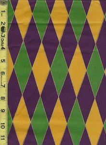 1yd Mardi Gras Harlequin Diamond Design Purple Green Gold