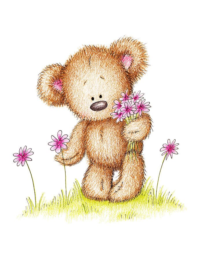 Cute illustrations - Teddy Bear With Pink Flowers Drawing ...