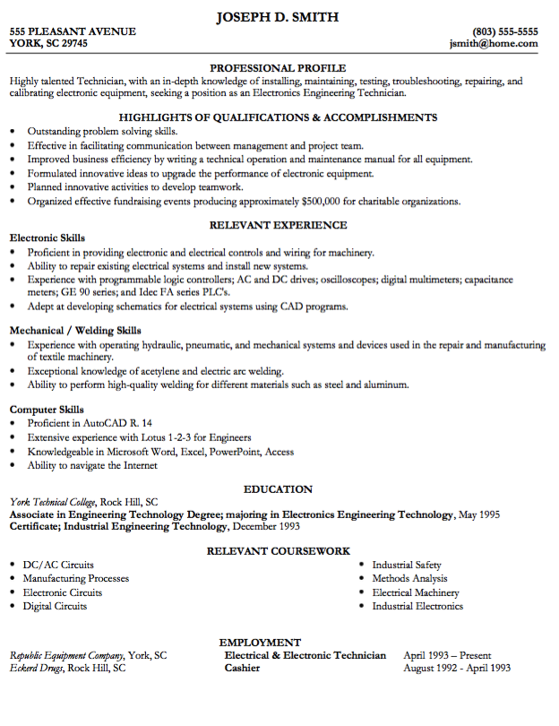 Example Of Engineering Tech Resume Examples Resume Cv