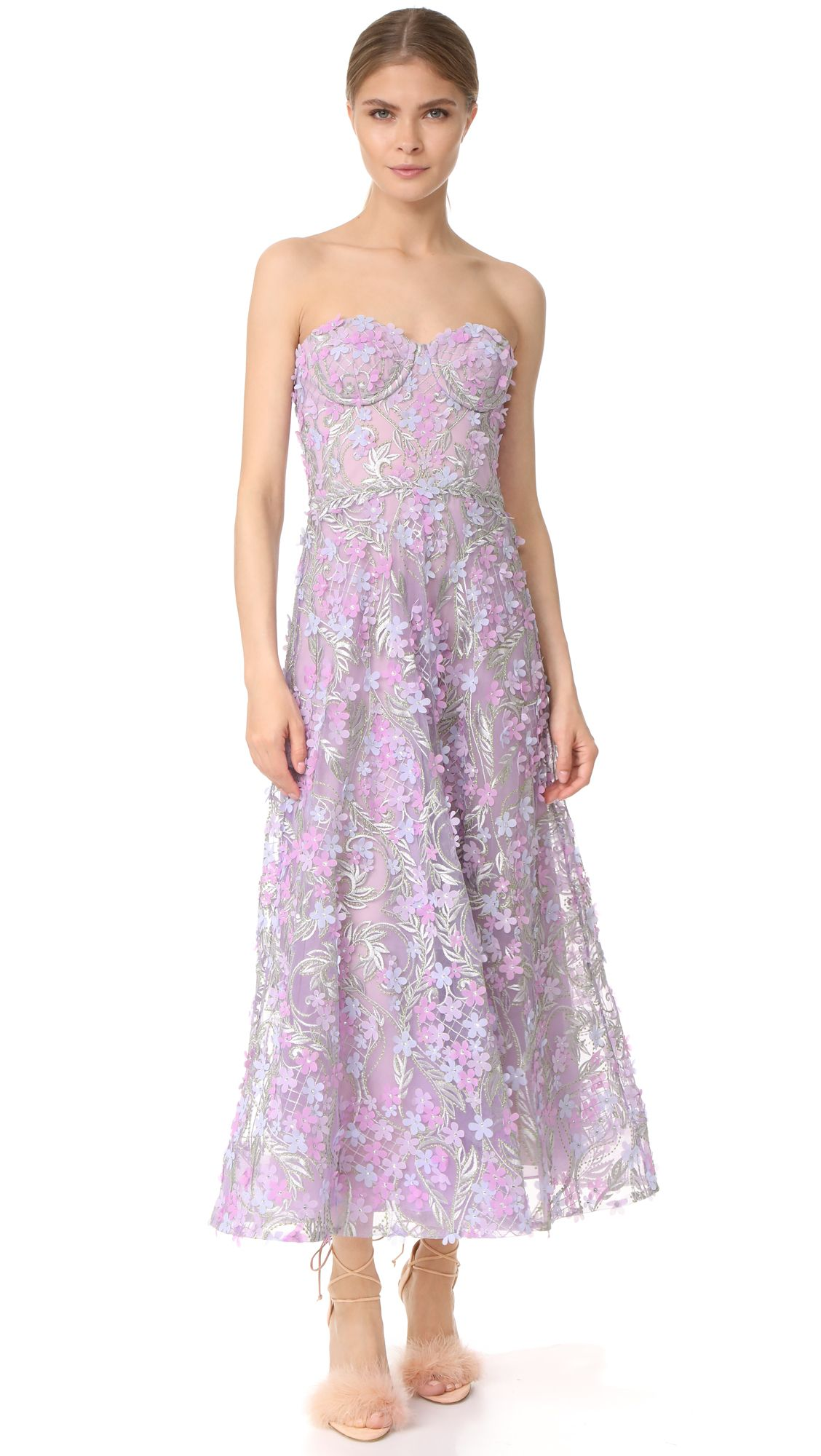 d259e1858e7dd MARCHESA NOTTE EMBROIDERED STRAPLESS TEA LENGTH GOWN.  marchesanotte  cloth