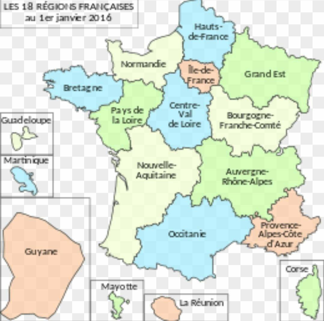 Le nombre et le nom des régions actuelle de la métropole ...