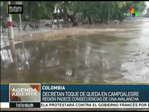 Colombia: avalancha afecta a dos mil personas en Campo Alegre