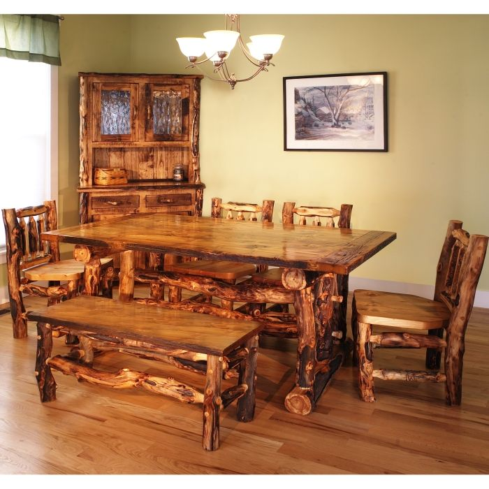 Log Dining Room Table: Pin By Alicia Thivierge On Cabin Decor