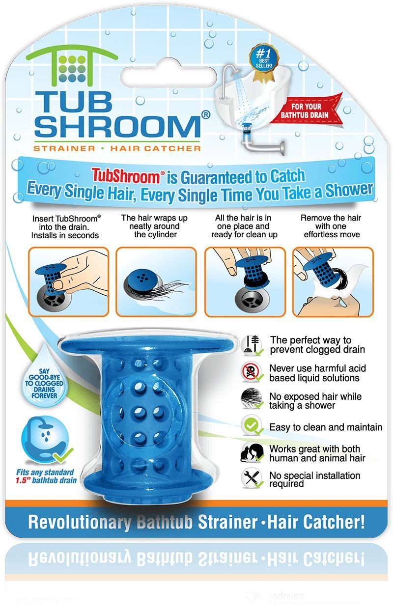 Blue) The Hair Catcher That Prevents Clogged Tub Drains | Catcher ...